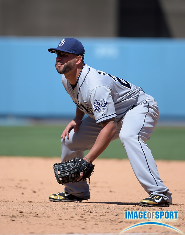 Apr 6, 2015; Los Angeles, CA, USA; San Diego Padres first baseman Yonder Alonso against the Los Angeles Dodgers in the 2015 MLB opening day game at Dodger Stadium. The Dodgers defeated the Padres 6-3.