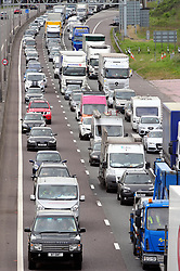 © Licensed to London News Pictures. 13/04/2017<br /> The big Easter getaway seems to have started early on the M25 in Kent Anti clock-wise towards the Dartford crossing.<br /> The traffic speed limit is down to 40mph to help with the congestion as the miles of queuing traffic gets longer.<br /> Photo credit :Grant Falvey/LNP