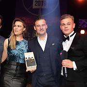 NLD/Hilversum/20200130 - Uitreiking De Gouden RadioRing 2020, Veronica Inside met Winfred Genee, Celine Huijsman, Rick Romijn en Niels van Baarlen en Dennis Schouten met de Gouden RadioRing