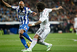 14.02.2015, Estadio Santiago Bernabeu, Madrid, ESP, Primera Division, Real Madrid vs Deportivo La Coruna, 23. Runde, im Bild Real Madrid&acute;s Marcelo Vieira (R) and Deportivo de la Coruna&acute;s Manuel Pablo // during the Spanish Primera Division 23rd round match between Real Madrid vs Deportivo La Coruna at the Estadio Santiago Bernabeu in Madrid, Spain on 2015/02/14. EXPA Pictures &copy; 2015, PhotoCredit: EXPA/ Alterphotos/ Victor Blanco<br /> <br /> *****ATTENTION - OUT of ESP, SUI*****