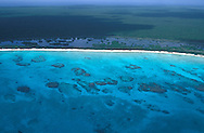 Rum Cay and coral reefs from the air, Long Island, Bahamas