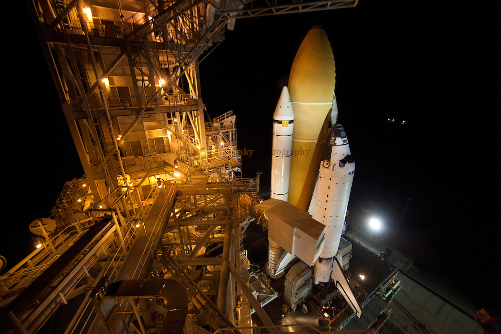 Cape Canaveral, Florida US - Space shuttle Atlantis arrives at Pad 39A in the early hours of June 1, 2011 in preparation for the final mission of the space shuttle program.  Atlantis is set to rocket into space on the programs final flight on July 8, 2011.