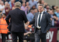 Football - 2017 / 2018 Premier League - West Ham United vs. Everton<br /> <br /> Sam Allardyce, Manager of Everton FC, congratulates David Moyes, Manager of West Ham United, at the final whistle at the London Stadium<br /> <br /> COLORSPORT/DANIEL BEARHAM