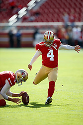 SANTA CLARA, CA - NOVEMBER 06: Kicker Phil Dawson #4 of the San Francisco 49ers warms up before the game against the New Orleans Saints at Levi's Stadium on November 6, 2016 in Santa Clara, California. The New Orleans Saints defeated the San Francisco 49ers 41-23. (Photo by Jason O. Watson/Getty Images) *** Local Caption *** Phil Dawson