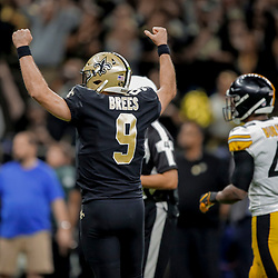 Dec 23, 2018; New Orleans, LA, USA; New Orleans Saints quarterback Drew Brees (9) reacts after a touchdown pass against the New Orleans Saints during the fourth quarter at the Mercedes-Benz Superdome. Mandatory Credit: Derick E. Hingle-USA TODAY Sports