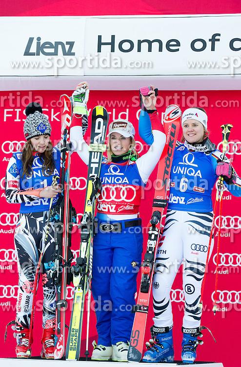 28.12.2015, Hochstein, Lienz, AUT, FIS Ski Weltcup, Lienz, Riesenslalom, Damen, Siegerehrung, im Bild v.l. Tina Weirather (LIE, 2. Platz), Lara Gut (SUI, 1. Platz) und Viktoria Rebensburg (GER, 3. Platz) // f.l.t.r. 2nd placed Tina Weirather of Liechtenstein, Winner Lara Gut of Switzerland and 3rd placed Viktoria Rebensburg of Germany during award ceremony after ladies Giant Slalom of the Lienz FIS Ski Alpine World Cup at the Hochstein in Lienz, Austria on 2015/12/28. EXPA Pictures © 2015, PhotoCredit: EXPA/ Michael Gruber