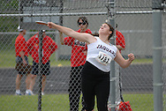 Hamilton, Ontario ---05/06/08--- Alanna Kovacs of St. Joseph's in Barrie competes in the senior girls discus at the 2008 OFSAA Track and Field meet in Hamilton, Ontario..MARK BUTTERWICK