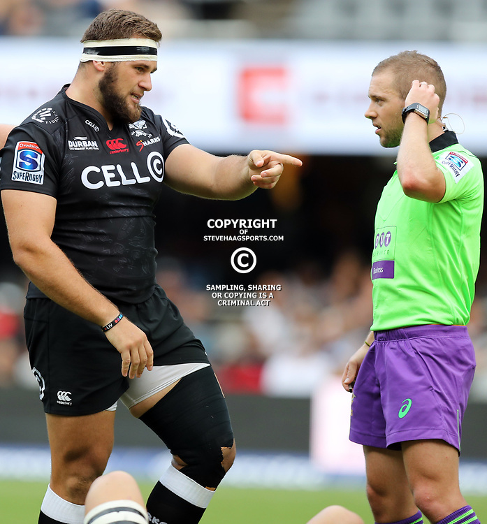 Thomas du Toit of the Cell C Sharks chats to Referee: Angus Gardner (Australia) during the Super Rugby match between the Cell C Sharks and the Jaguares  April 8th 2017 - at Growthpoint Kings Park,Durban South Africa Photo by (Steve Haag)