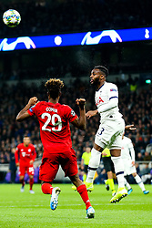 Danny Rose of Tottenham Hotspur clears from Kingsley Coman of Bayern Munich - Rogan/JMP - 01/10/2019 - FOOTBALL - Tottenham Hotspur Stadium - London, England - Tottenham Hotspur v Bayern Munich - UEFA Champions League Group B.
