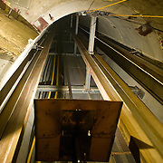 Looking up into a silver mine lift shaft from about 3000 ft below the surface, Idaho