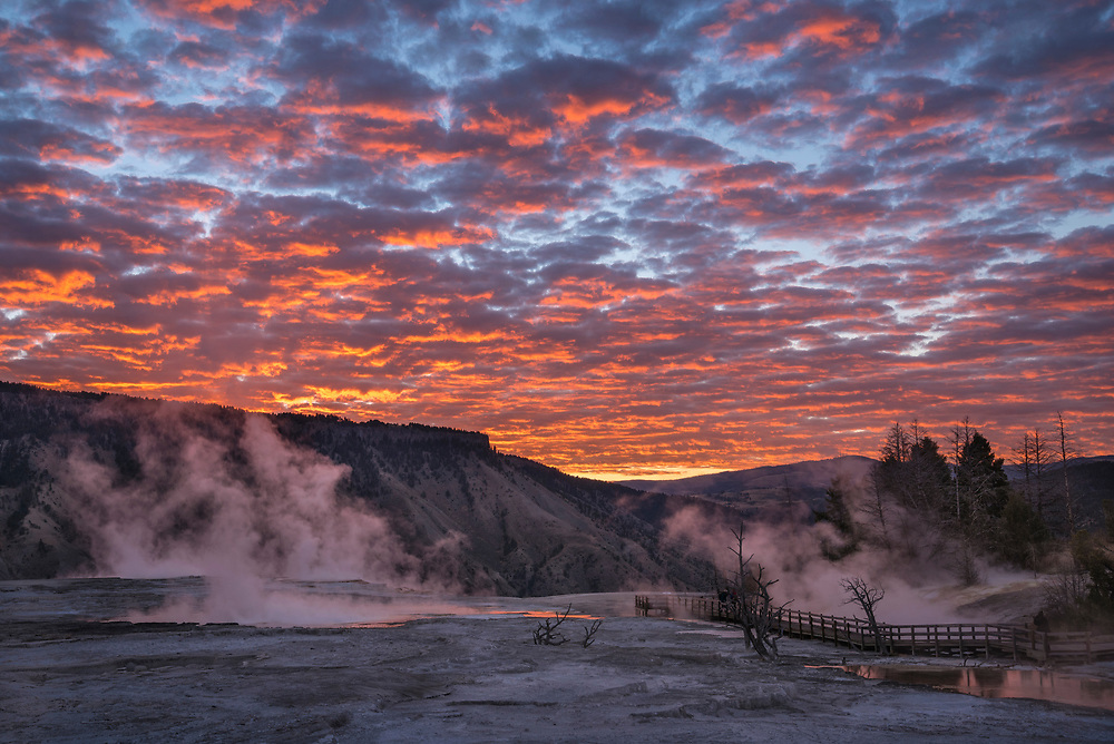Sunrise clouds over Upper Mammoth Terrace, Yellowstone National Park, Wyoming.