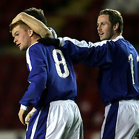 Clyde v St Johnstone..22.03.05<br />Stevie McManus is congratulated on his goal by Kieran McAnespie and Peter MacDonald.<br />Picture by Graeme Hart.<br />Copyright Perthshire Picture Agency<br />Tel: 01738 623350  Mobile: 07990 594431