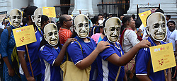 October 2, 2018 - Kolkata, West Bengal, India - People wear mask of Mahatma Gandhi and participate in a walk organized by Ministry of Culture and Indian Museum to commemorate the Mahatma Gandhi 149th birth anniversary. (Credit Image: © Saikat Paul/Pacific Press via ZUMA Wire)