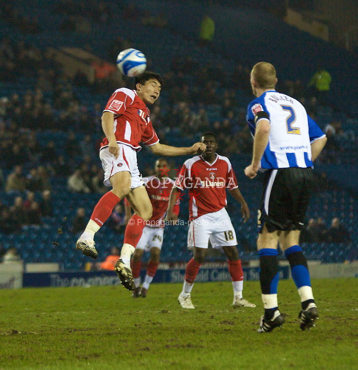 SHEFFIELD, ENGLAND - Tuesday, February 12, 2008: Charlton Athletic's Zheng Zhi in action against Sheffield Wednesday during the League Championship match at Hillsborough Stadium. (Photo by David Rawcliffe/Propaganda)