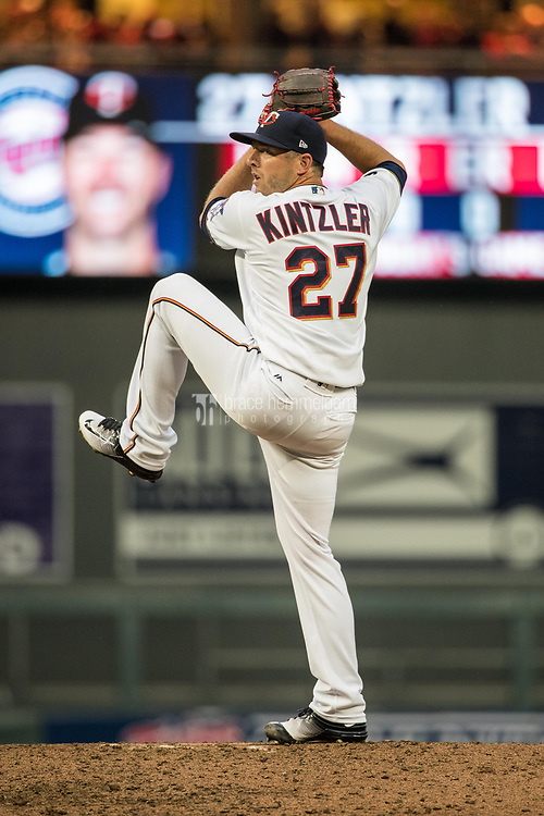 MINNEAPOLIS, MN- APRIL 3: Brandon Kintzler #27 of the Minnesota Twins pitches against the Kansas City Royals on April 3, 2017 at Target Field in Minneapolis, Minnesota. The Twins defeated the Royals 7-1. (Photo by Brace Hemmelgarn) *** Local Caption *** Brandon Kintzler