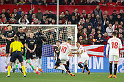 Sevilla midfielder Ever Banega (10) shoots at goal with a free kick during the Champions League match between Sevilla and Manchester United at the Ramon Sanchez Pizjuan Stadium, Seville, Spain on 21 February 2018. Picture by Phil Duncan.