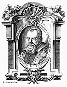 Galileo Galilei (1564-1642) Italian astronomer and mathematician. Portrait from frontispiece of his 'Istoria' (1613) and 'Il Saggiatore' (1623). Cherub, left, holds Galileo's military compass, while one on right holds a telescope. Copperplate engraving.