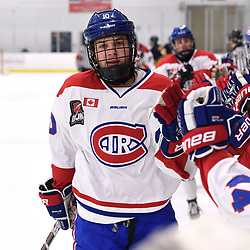 TORONTO, ON  - JAN 7,  2018: Ontario Junior Hockey League game between the Toronto Jr. Canadiens and the Buffalo Jr. Sabres, Chad Lopez #10 of the Toronto Jr. Canadiens celebrates the goal during the first period.<br /> (Photo by Andy Corneau / OJHL Images)