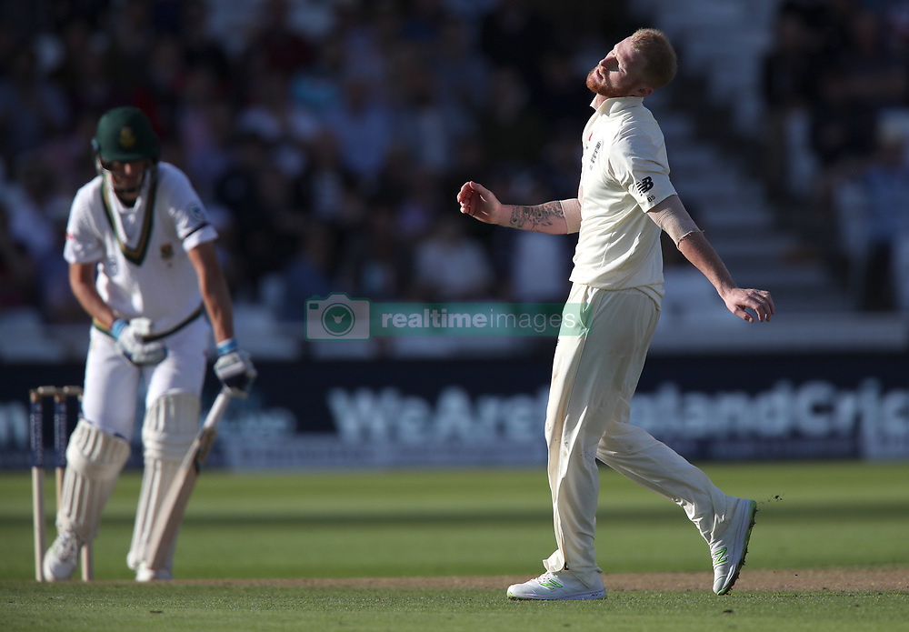 England's Ben Stoke reacts during day one of the Second Investec Test match at Trent Bridge, Nottingham.