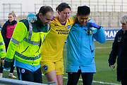 Brighton Womens goalkeeper (1) is carried off injured during the FA Women's Super League match between Manchester City Women and Brighton and Hove Albion Women at the Sport City Academy Stadium, Manchester, United Kingdom on 27 January 2019.