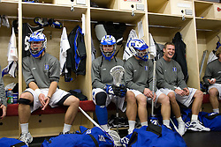 18 May 2008: Duke Blue Devils midfielder Sam Spillane (5), midfielder Sam Payton (32), midfielder Steve Schoeffel (20) and midfielder Zack Greer (25) before a 21-10 win over the Ohio State Buckeyes during the NCAA quarterfinals held at Cornell University in Ithaca, NY.
