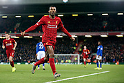 Liverpool midfielder Georginio Wijnaldum (5) celebrates his goal 5-2  during the Premier League match between Liverpool and Everton at Anfield, Liverpool, England on 4 December 2019.