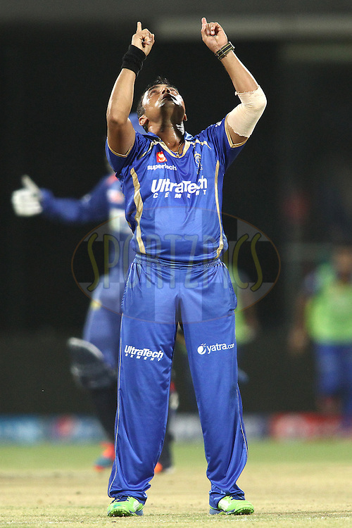 Pravin Tambe of the Rajasthan Royals celebrates getting Kevin Pietersen captain of of the Delhi Daredevils wicket during match 23 of the Pepsi Indian Premier League Season 2014 between the Delhi Daredevils and the Rajasthan Royals held at the Feroze Shah Kotla cricket stadium, Delhi, India on the 3rd May  2014<br /> <br /> Photo by Shaun Roy / IPL / SPORTZPICS<br /> <br /> <br /> <br /> Image use subject to terms and conditions which can be found here:  http://sportzpics.photoshelter.com/gallery/Pepsi-IPL-Image-terms-and-conditions/G00004VW1IVJ.gB0/C0000TScjhBM6ikg