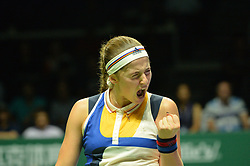 SINGAPORE, Oct. 24, 2017  Jelena Ostapenko of Latvia reacts during the group match against Venus Williams of United States at WTA Finals tennis tournament in Singapore, Oct. 24, 2017. (Credit Image: © Then Chih Wey/Xinhua via ZUMA Wire)
