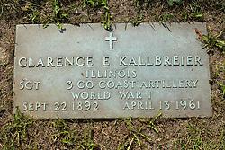31 August 2017:   Veterans graves in Park Hill Cemetery in eastern McLean County.<br /> <br /> Clarence E Kallbreier  Illinois  Sergeant  3 Co Coast Artillery  World War I  Sept 22 1892  April 13 1961