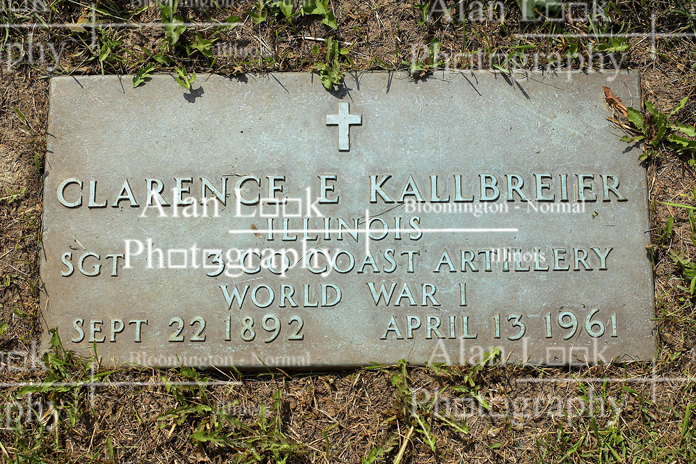 31 August 2017:   Veterans graves in Park Hill Cemetery in eastern McLean County.<br /> <br /> Clarence E Kallbreier  Illinois  Sergeant  3 Co Coast Artillery  World War I  Sept 22 1892  April 13 1961