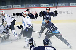 28.08.2015, Dom Sportova, Zagreb, CRO, KHL League, KHL Medvescak vs Admiral Vladivostok, 2. Runde, im Bild The celebration of the first goal. // during the Kontinental Hockey League, 2nd round match between KHL Medvescak and Admiral Vladivostok at the Dom Sportova in Zagreb, Croatia on 2015/08/28. EXPA Pictures © 2015, PhotoCredit: EXPA/ Pixsell/ Goran Jakus<br /> <br /> *****ATTENTION - for AUT, SLO, SUI, SWE, ITA, FRA only*****