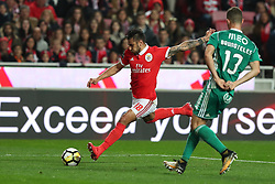 February 3, 2018 - Lisbon, Portugal - Benfica's Argentine midfielder Eduardo Salvio vies with Rio Ave's defender Bruno Teles (R ) during the Portuguese League football match SL Benfica vs Rio Ave FC at the Luz stadium in Lisbon on February 3, 2018. (Credit Image: © Pedro Fiuza/NurPhoto via ZUMA Press)