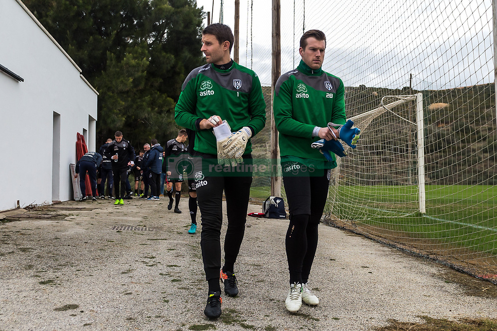 (L-R) goalkeeper Bram Castro of Heracles Almelo, goalkeeper Michael Brouwer of Heracles Almelo during a training session of Heracles Almelo at the Don Julia resort on January 09, 2018 in Estepona, Spain