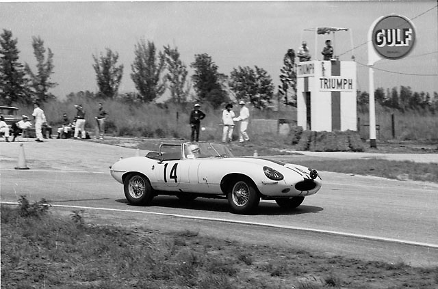 Jaguar E-type no. 14 driven by Briggs Cunningham (driving here) and John Fitch to 1st in class GT13, 14th overall in 1962 Sebring 12 Hours race