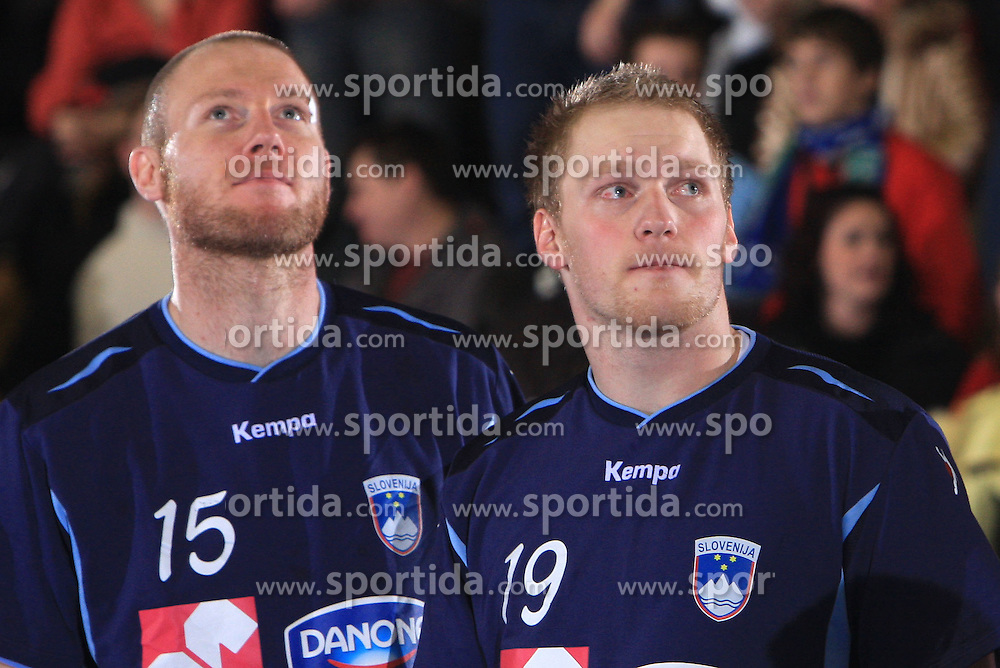 Ales Pajovic and Miha Zvizej before handball match of 5th Round of qualifications for EHF Euro 2010 in Austria between National team of Slovenia vs Bulgaria, on November 30, 2008 in Velenje, Slovenia. (Photo by Vid Ponikvar / Sportida)