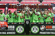 FGR lift the play off trophy during the Vanarama National League Play Off Final match between Tranmere Rovers and Forest Green Rovers at Wembley Stadium, London, England on 14 May 2017. Photo by Shane Healey.