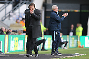 Derby County manager Frank Lampard looks disappointed as Sheffield Wednesday manager Steve Bruce applauds his players during the EFL Sky Bet Championship match between Derby County and Sheffield Wednesday at the Pride Park, Derby, England on 9 March 2019.