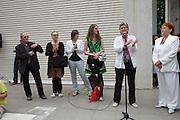 Austrian Pavillion opening ceremony. From l.: Artists Franziska & Lois Weinberger, Dorit Margreiter, Elke Krystufek; Dr. Claudia Schmid (Minister for Education, Arts and Culture) holding speech; Commissioner VALIE EXPORT.