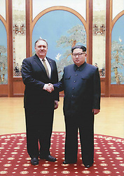 April 27, 2018 - Pyongyang, North Korea - The White House released pictures April 27, 2018 showing CIA Director Mike Pompeo, left, shaking hands with North Korean leader Kim Jong Un during a secret meeting over Easter weekend in April 2018 in Pyongyang, North Korea. Pompeo was the most senior U.S. official to meet a North Korean leader since 2000. (Credit Image: © White House/Planet Pix via ZUMA Wire)