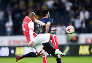 SOLNA, SWEDEN - JULY 27: Raúl Silva of SC Braga and Denny Avdic of AIK competes for the ball during the UEFA Europa League Qualifying match between AIK and SC Braga at Friends arena on July 27, 2017 in Solna, Sweden. Photo by Nils Petter Nilsson/Ombrello