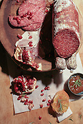 French Sausage with jam and pomegranate seeds