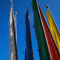 Asia, Bhutan, Bumthang. Prayer flags on poles at Jambay Lhakhang.
