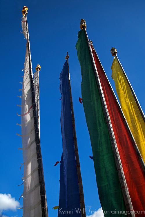 Asia, Bhutan, Bumthang. Prayer flags on poles at Jambay Lhakhang.