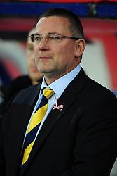 Scotland manager, Craig Levein - Photo mandatory by-line: Joe Meredith/JMP  - Tel: Mobile:07966 386802 12/10/2012 - Wales v Scotland - SPORT - FOOTBALL - World Cup Qualifier -  Cardiff   - Cardiff City Stadium -
