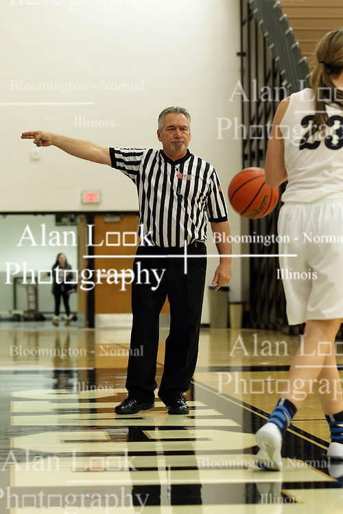 20 November 2015: Rich Caccatori points the direction of possession. Normal Community Lady Ironmen v Bloomington Central Catholic Lady Saints at Girls Intercity in the gym at Normal Community West in Normal IL