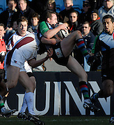 Twickenham, GREAT BRITAIN,  Tigers Lewis MOODY lifts, Quins Chris MALONE, after Malone catches the high ball during the Guinness Premiership Game, Harlequins [Quins] vs Leicester Tigers, at the Twickenham Stoop 06/01/2008 [Mandatory credit Peter Spurrier/ Intersport Images].
