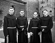 09/10/1959<br /> 10/09/1959<br /> 09 October 1959<br /> Franciscans leave for South Africa. Three Franciscans who left Dublin for Rome en route to the Irish Franciscan Mission of Kokstad in South Africa. They were (l-r): Rev. Fr. John Baptist Kerr O.F.M. (Drogheda); Rev. Fr. Eric Austin O.F.M (Dublin) and Rev. Fr. Manus Campbell O.F.M. (Belfast) (far right). They were present at the ceremony in St. Peter's Basilica, Rome the next  Sunday when the Pope presented mission crosses to more than three hundred priests and nuns leaving for the Mission Fields.