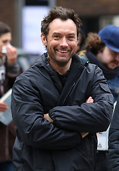 "Jude Law sports a fuller hairline while filming with costars Raffey Cassidy and Stacy Martin on the set of ""Vox Lux"" in Midtown Manhattan. Raffey Cassidy will be playing a younger version of Natalie Portman who is set to play the lead role in the film. 12 Feb 2018 Pictured: Jude Law. Photo credit: LRNYC / MEGA TheMegaAgency.com +1 888 505 6342"