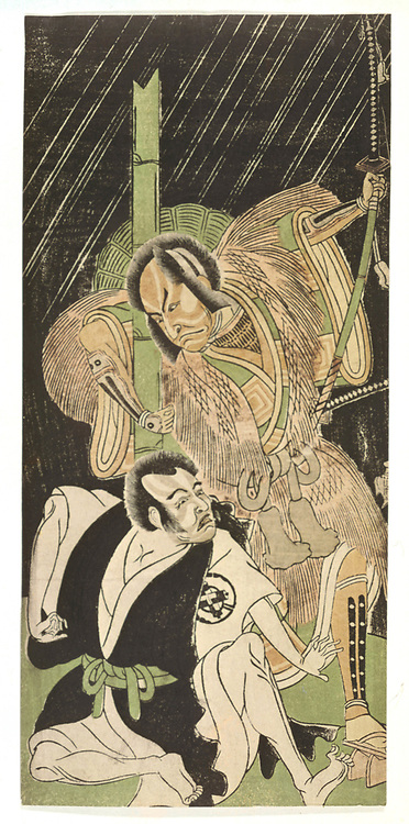 Actors as Samurai', coloured woodblock print. Katsukawa Shunsho (1726-1792) Japanese artist and printmaker.