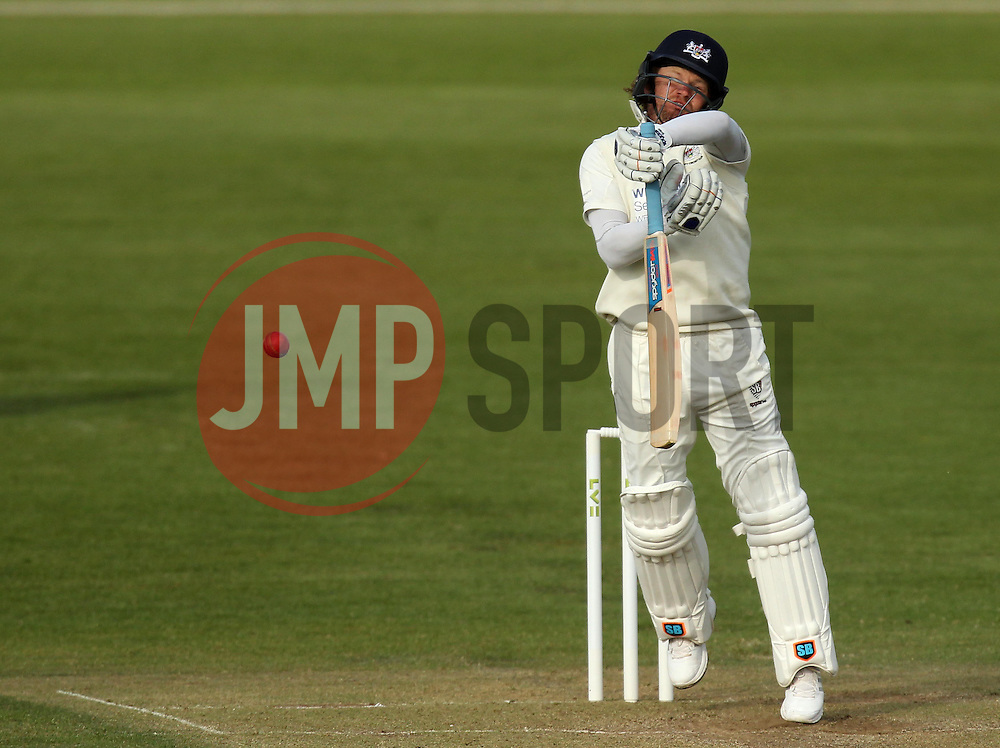 Gloucestershire's Hamish Marshall is troubled by a short ball - Photo mandatory by-line: Robbie Stephenson/JMP - Mobile: 07966 386802 - 28/04/2015 - SPORT - Cricket - Bristol - The County Ground - Gloucestershire v Derbyshire - County Championship Division Two